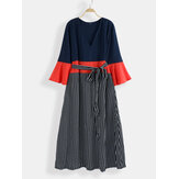 Plus Size Women Stripe Print Contrast Color Maxi Dress