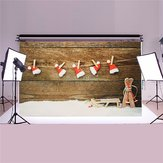 5x3ft Christmas Theme Wood Floor Kids Vinyl Backdrop Photography Photo Props