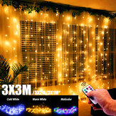 3mx1m/3mx2m/3mx3m LED Fairy Curtain String Light Remote Control 8 Modes USB Hanging Wedding Bedroom Party Home Decor