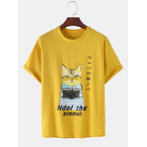 Cotton Cute Cartoon Katze Muster Slogan Print Kurzarm Casual T-Shirts