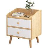 Mesa de cabeceira de madeira Mesa de cabeceira do quarto Estante lateral para estante moderno Rack de armazenamento com 2 gavetas Móveis de escritório doméstico