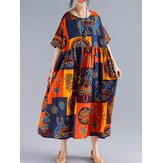 Women Retro Folk Style Print Loose O-Neck Short Sleeve Dress