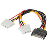 SATA 15 Pin to Dual 4 Pin Power Adaptor SATA Y Splitter Cable Power Supply Cable