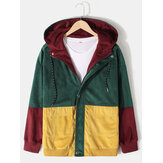 Mens Vintage Colorblock Corduroy Stitching Hooded Jacket