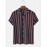 Mens Vertical Stripes Print Leichte, lockere, lässige Kurzarmhemden