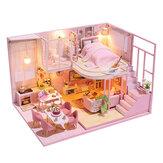ミニチュアDIYドールハウス家具付き木製家のおもちゃ子供のための誕生日プレゼント