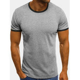 Mens Fashion Solid Color Breathable Crew Neck Casual T-Shirts