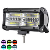 144W 7 pouces RGB LED barre lumineuse de travail feu de brouillard de conduite 10-32V pour 4WD SUV camion UTE Offroad ATV