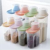 4 stuks Granen Opbergdoos Plastic Rijst Container Voedsel Verzegelde Pot Blikjes Keuken Graan Gedroogd Fruit Snacks Opbergdoos