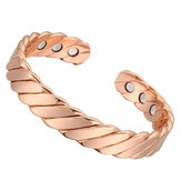 Fashion Rose Gold Magnetic Bracelet Neodymium Magnet Therapy Pain Relief Health Care Copper Bangle