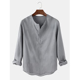 Cotton Mens Casual Solid Color Long Sleeve Henley Shirts
