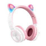 Picun Lucky Cat bezprzewodowy zestaw słuchawkowy bluetooth LED Light karta TF śliczne ucho kota dziewczyny słuchawki HIFI stereofoniczne słuchawki basowe z mikrofonem