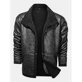 Mens Solid Color Warm Button Up Fleece Lined Thicken PU Leather Jacket With Pocket