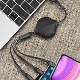 3 in 1引き込み式USBケーブル多機能ケーブル充電器
