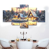 5 Panel Sanat Tuval Noel Dekor İç Hiçbir Çerçeve Ev Dekorasyon Duvar Resimleri Oturma Odası Duvar Ev Dekor Malzemeleri