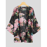 Women Casual Floral Print 3/4 Sleeve Cardigans
