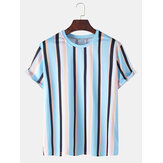 Mens Colorful Vertical Stripes Holiday Casual Camisetas de manga curta