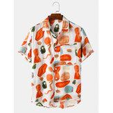 قميص رجالي 100٪ قطن اللون بلوك مطبوع عليه رسوم متحركة طية صدر السترة بأكمام قصيرة