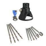 Drillpro Drill Carving Locator 4pcs 3mm Twist Drills and 6pcs Wood Milling Burrs For Rotary Tools