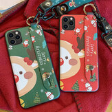 MEKS Christmas Cartoon Deer Pattern Plating with Lanyard Wrist Strap Bracket Shockproof TPU Protective Case for iPhone 11/11 Pro Max / 11 Pro / XR / XS MAX/6 / 6S / 7/8/7 Plus/8 Plus