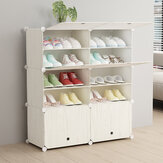 DIY Shoe Rack Multi Use Modular Organizer Storage Plastic Cabinet with Doors