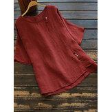 Effen kleur Onregelmatige split-ronde hals blouse met korte mouwen