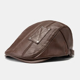 Men's PU Leather Beret Caps Casual Artificial Leather Newsboy Cap Warm Hats