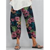 Kadınlar Çiçek Baskı Elastik Bel Günlük Rahat Pantolon Yan Cepler ile