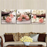 3Pcs Flowers Canvas Print Paintings Wall Decorative Print Art Pictures Frameless Wall Hanging Decorations for Home Office
