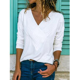 Women Casual V-neck Pure Color Blouse