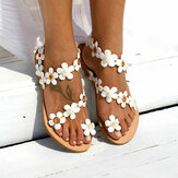 Women Bohemia Flower Decro Beading Toe Ring Casual Summer Beach Flat Sandals