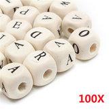100 قطع مختلطة خشبية الأبجدية إلكتروني Cube الحرفية سحر الخرز 10 ملليمتر