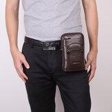 男性本革牛革6-7インチ電話バッグマルチキャリークロスボディバッグウエストバッグベルトループ付き