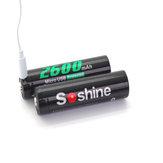 1Pcs Soshine 18650USB 3.7v 2600mAh Li-ion ricaricabile 18650 protetto Batteria con porta micro USB integrata