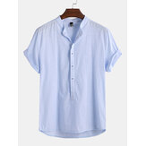 Men's Linen Breathable T Shirts Cool Short Sleeve T-shirt V Neck Casual Tops Tee
