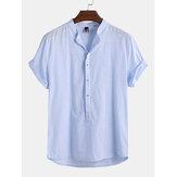 Мужские льняные дышащие футболки Прохладный футболка с коротким рукавом V Шея Повседневная футболка топов