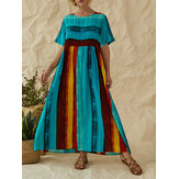 Plus Size Bohemian Striped Patchwork Print Manga comprida Holiday Maxi Dress
