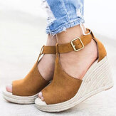 Dames Espadrilles Peep Toe Buckle Comfy Casual Wedges Sandalen