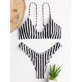 Women Vertical Stripe Back Buckle Backless Thong Bikini