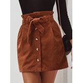 Mulheres Corduroy A-Line Single Button Wide Cinto Saias Paperbag de cintura alta