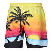 S52513 Beach Shorts Board Shorts 3D-Kokosnussbaum-Sonnenuntergangdruck Schnell trocknend Wasserdichte Elastizität