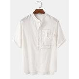 Camisas Henley de manga corta sólidas 100% algodón para hombre