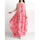 Women Cotton Loose Floral Print Round Neck Sleeveless Dress