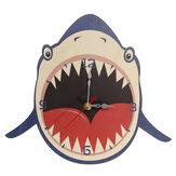 Parede de madeira criativa Relógio Timing Cartoon Forma de tubarão Decoração de parede de quarto de criança do jardim de infância Relógio Suprimentos