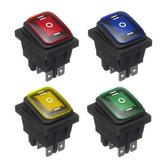 12V 16A 6Pin Waterproof Rocker Switch com Lamp Light Momentary