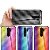 Bakeey pour Xiaomi Redmi 9 étui en fibre de carbone dégradé de couleur en verre trempé antichoc étui de protection résistant aux rayures non original