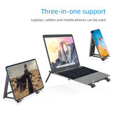 Multifunctional Foldable 3-IN-1 Universal Macbook Tablet Phone Holder Bracket Cooling Stand