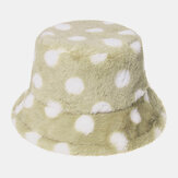 Unisex Rabbit Hair Colorful Dots Pattern Plus Thicken Warm Windproof Soft All-match Travel Bucket Hat