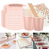 125pcs Party Disposable Tableware Set Festival Paper Cups Camping Fork Spoon Rose Gold Plates Straws Table