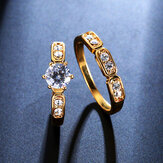 Anillo de Zircon de moda 2PCS Set Oro Fine Cobre Eco Friendly Anallergic Accessories